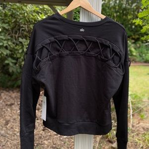 Alo Hook-Up Lattice Long Sleeve Top Pullover